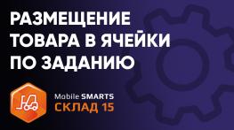 Размещение товара в ячейки, указанные в задании на ТСД в ПО «Mobile SMARTS: Склад 15»